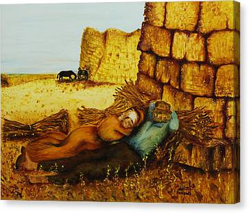Canvas Print featuring the painting Hard Labor Fatigue by Itzhak Richter
