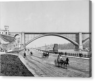 Harlem River Speedway Scene Beneath The George Washington Bridge Canvas Print by International  Images