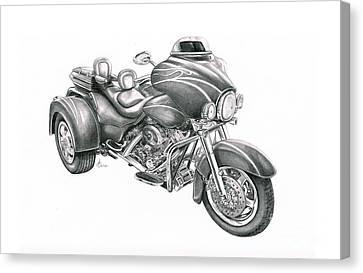 Harley Davidson Trike Canvas Print by Murphy Elliott