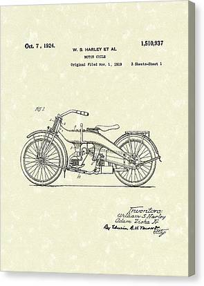 Harley Motorcycle 1924 Patent Art Canvas Print by Prior Art Design