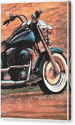 Canvas Print featuring the painting Harley Softtail by Rod Seel