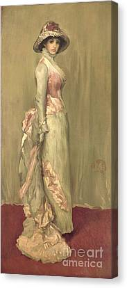 Harmony In Pink And Grey Lady Meaux Canvas Print by James Abbott McNeill Whistler