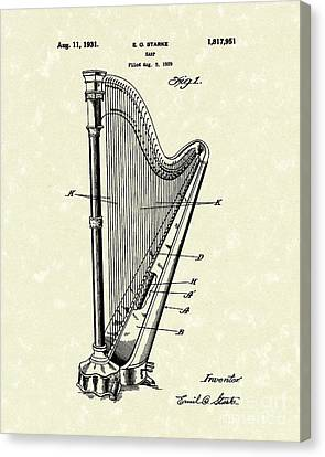 Harp 1931 Patent Art Canvas Print by Prior Art Design