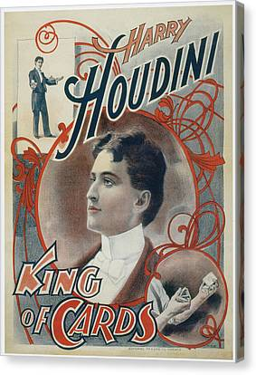 Harry Houdini King Of Cards Canvas Print by Unknown