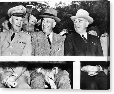 Harry Truman Observing The First Armed Canvas Print by Everett