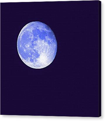 Harvest Moon - Blue Moon Canvas Print by Steve Ohlsen