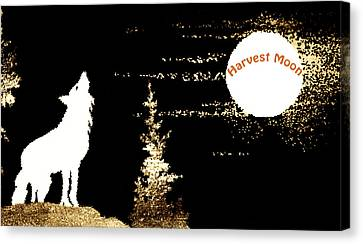Harvest Moon Coyote 1 Canvas Print by Marilyn Hunt