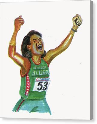 Hassiba Boulmerka Canvas Print by Emmanuel Baliyanga