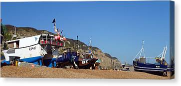 Hastings Fishing Fleet Canvas Print by Sharon Lisa Clarke
