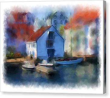 Haugesund Boat House Canvas Print by Michael Greenaway