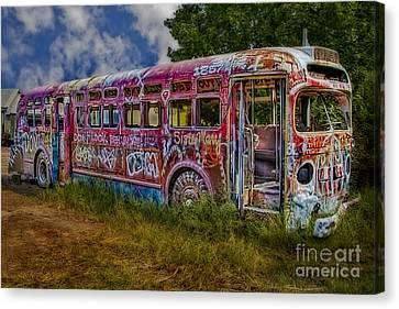 Haunted Graffiti Bus Art Canvas Print by Susan Candelario