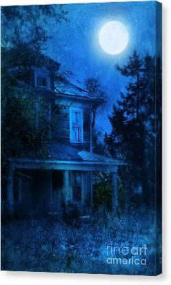 Haunted House Full Moon Canvas Print by Jill Battaglia