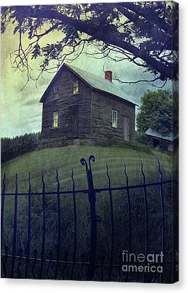 Haunted House On A Hill With Grunge Look Canvas Print