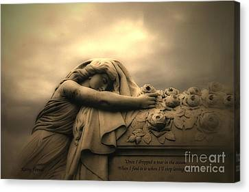 Dark Angel Art Canvas Print - Haunting Cemetery Angel Mourner Rose Casket by Kathy Fornal