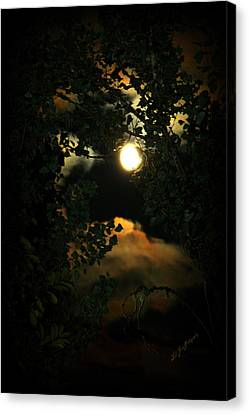 Canvas Print featuring the photograph Haunting Moon by Jeanette C Landstrom