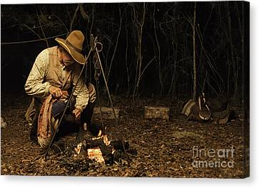 Canvas Print featuring the photograph Having Coffee On The Range by Linda Constant