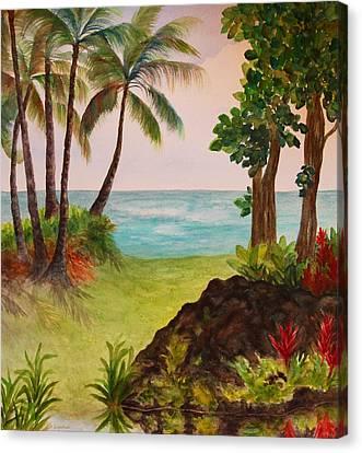 Hawaiian Oceanside Canvas Print by Kerri Ligatich
