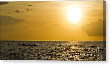 Hawaiian Outrigger Canoe Sunset Canvas Print