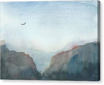 Hawk Above The Red Cliffs Canvas Print by Alan Daysh