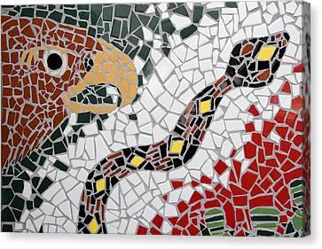 Hawk And Snake Mosaic Canvas Print by Carol Leigh