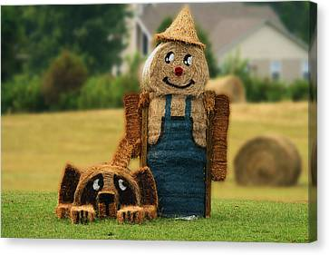 Hay Bale Farmer And Dog  Canvas Print