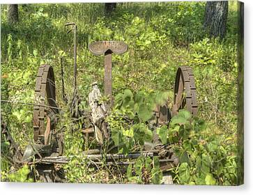 Pastue Canvas Print - Hay Cutter In The Weeds 1 by Douglas Barnett