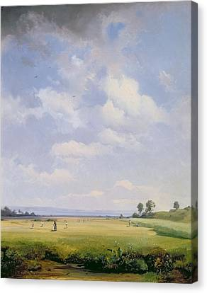 Haymaking Canvas Print by August Albert Zimmermann