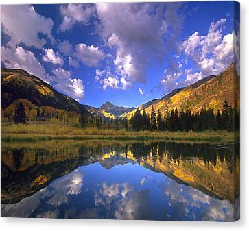 Haystack Mountain Reflected In Beaver Canvas Print by Tim Fitzharris