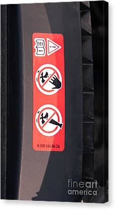 Hazard Warning Sticker Canvas Print by Photo Researchers
