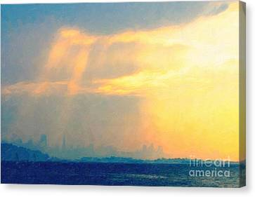 Hazy Light Over San Francisco Canvas Print by Wingsdomain Art and Photography
