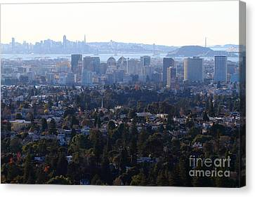 Hazy San Francisco Skyline Viewed Through The Oakland Skyline . 7d11341 Canvas Print by Wingsdomain Art and Photography