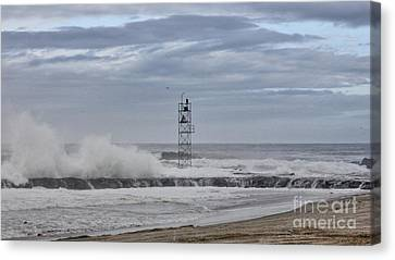 Hdr Light Tower Waves Splashing Beach Beaches Sea Oceanview Photos Pictures Photograph Photo Picture Canvas Print by Pictures HDR