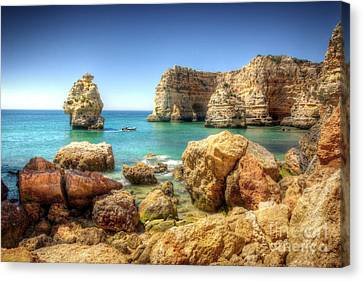 Hdr Rocky Coast Canvas Print by Carlos Caetano