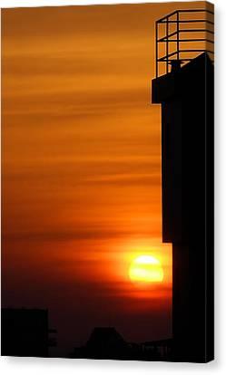 Hdr Sunset Canvas Print by Meir Ezrachi