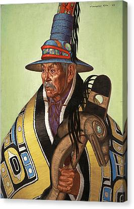 Head Chief Of The Tlingit Holds Canvas Print by W. Langdon Kihn