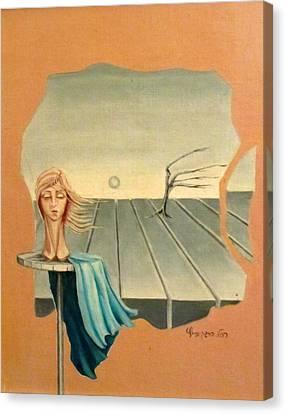 Head In Wind Surrealistic Frame Boards Tree And Hair Waving In Wind Beige Blue Grey Canvas Print by Rachel Hershkovitz
