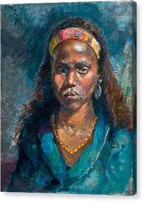 Head Of A Woman Canvas Print by Ellen Dreibelbis