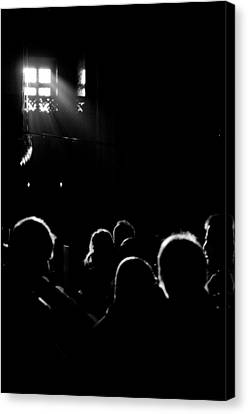 Heads Looking For Light Black And White Canvas Print