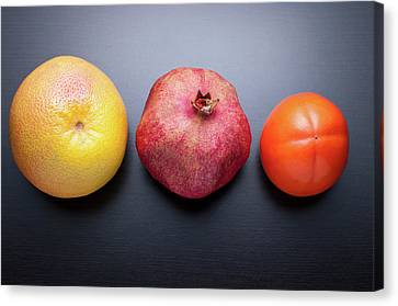 Healthy Fruits On Dark Wooden Background Canvas Print