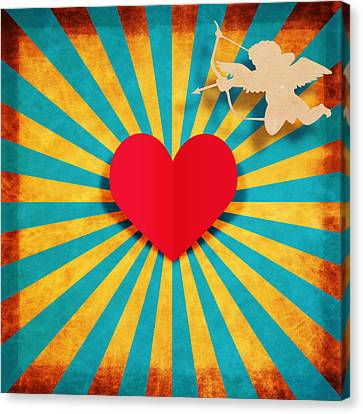 Heart And Cupid On Paper Texture Canvas Print by Setsiri Silapasuwanchai