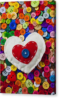 Disk Canvas Print - Heart Buttons by Garry Gay