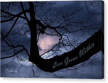 Heart In Tree Love Grows Within  Canvas Print