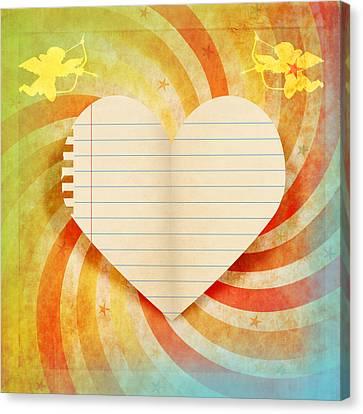 Cardboard Canvas Print - Heart Paper Retro Design by Setsiri Silapasuwanchai