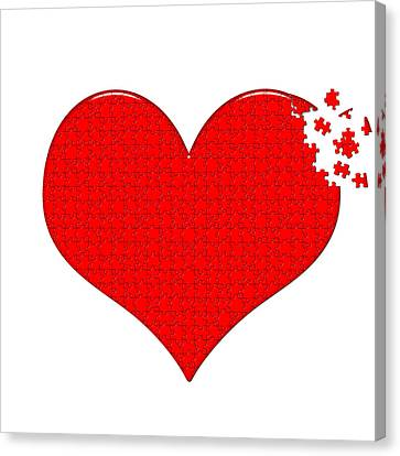 Love Making Canvas Print - Heart Puzzle by Hans Engbers