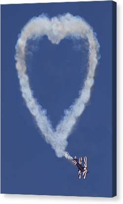 Smoke Trail Canvas Print - Heart Shape Smoke And Plane by Garry Gay