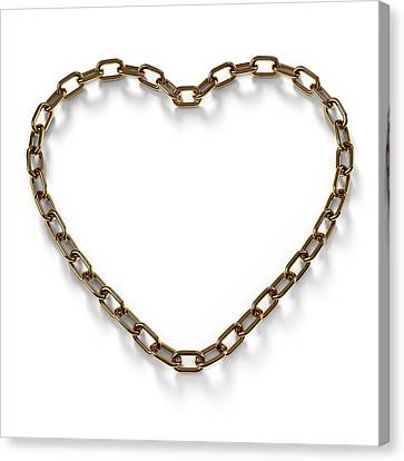 Heart Shaped Gold Chain Canvas Print by Atomic Imagery