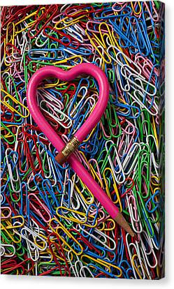Heart Shaped Pink Pencil Canvas Print by Garry Gay