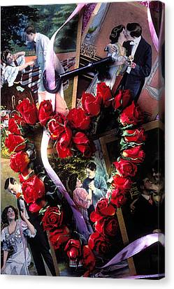Heart Shaped Roses And Old Postcards Canvas Print by Garry Gay