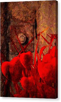 Hearts And Metal Canvas Print by Martin  Fry