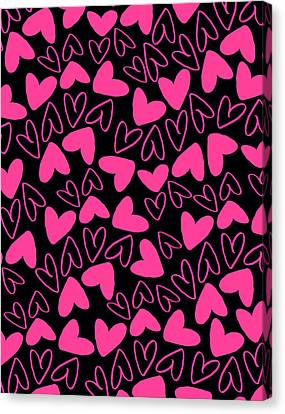 Hearts Canvas Print by Louisa Knight